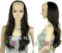 "Wholesale made no lace hair wig cheap brazilian 26"" Natural Kanekalon Fiber Hair wigs half female dark brown wave wig 3/4 wigs"