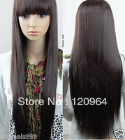 "Wholesale made no lace hair wig cheap brazilian 33"" Popular Kanekalon Fiber Straight  Dark brown (33#) monroe ombre hair wigs"
