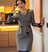 Women's Winter work wear formal slim long-sleeve woolen faux two piece one-piece dress plus size clothing woolen outerwear