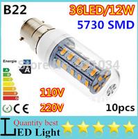 Hot sale!! 110pcs/lot Mini B22 E14 E27 G9 GU10 5730SMD  LED Corn Bulbs 36led 12W Cool White/Warm White AC110/220V Free shipping