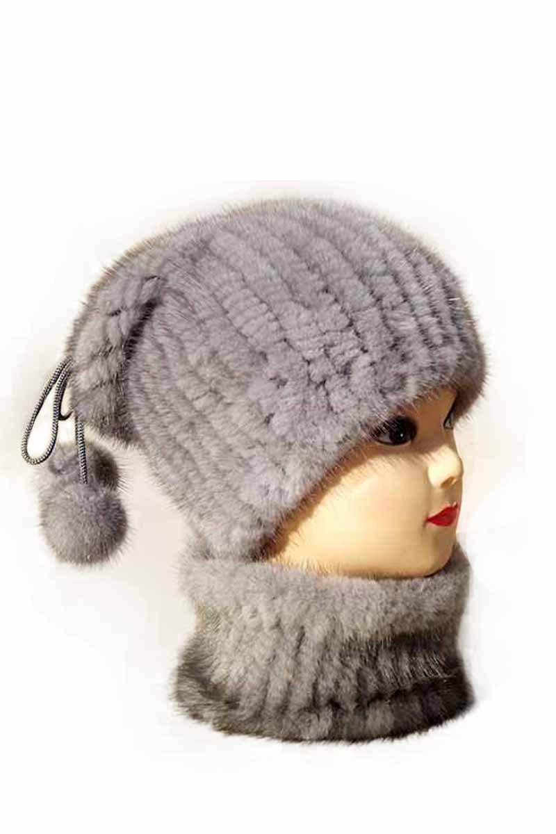 Genuine mink fur hat to keep warm in winter new fashion knit cap hat mink ball