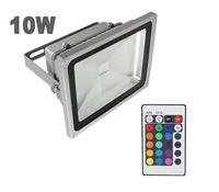 10pcs free shipping by fedex 10W LED Outdoor Floodlight RGB Warm White Cool White with IR Remote Controller 16 Colorful