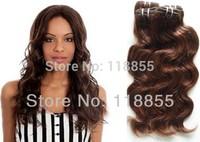 Malaysian virgin body wave Medium Brown hair bundles 4pcs lot unprocessed body curly hair weave 6A loose body wavy weft