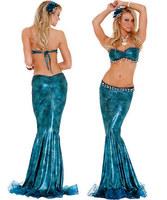 Halloween costume flash chip blue mermaid bikini sexy celebrity photo album service dinner service