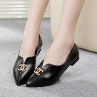 2014 spring single shoes small fashion brief female single shoes female shoes flat heel pointed toe leather small