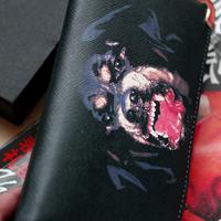 Dog design print long wallet