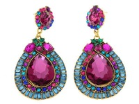 2014 New Fashion Crystal Luxurious Waterdrop Shaped Crystal Drop Earrings for Women Ladies Purple[JE02095*2]