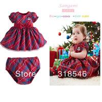 2014 new wholesale Free shipping 5pcs/lot  children clothing girls summer dress baby girls minnie plaid dress+shorts 1-6years