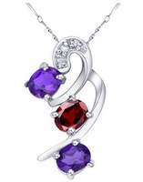 Trendy jewellery 2014 natural garnet and amethyst stone pendants necklaces 925 sterling silver jewelry  SP0007F2