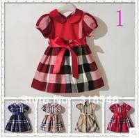 High quality Free shipping 5pcs/lot  girls dress girls short sleeve plaid dress girls brand clothing 1-6years