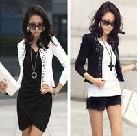 Free Shipping New Lady's Long Sleeve Shrug Suits Small Jacket Fashion Cool Women's Rivet Coat 2 Colors S/M/L/XL/XXL LBR9002