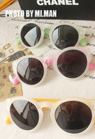 2013 scrub quality sun glasses male women's vintage big circular frame sunglasses