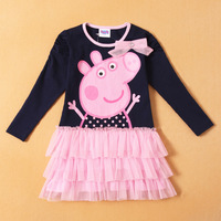 New Arrival , Retail, Girls Cute Peppa Pig Cartoon Dress, Girls Long Sleeve Dress , Freeshipping, IN STOCK