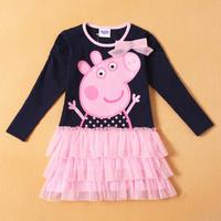 Retail, Girls Cute Peppa Pig Cartoon Dress, Girls Long Sleeve Dress , Freeshipping, IN STOCK