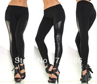 DA7642 Free Shipping New Fashion Leggings Fast Delivery Pu Leather + Cotton Black Leggings