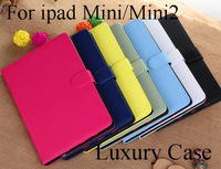 Free shipping New arrival  Luxury korea Leather case cover for apple  ipad mini ipad mini 2 wallet style holder and smart cover