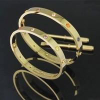 Titanium Steel Finest Designer LOVE BRACELET Colorful Rhinestone Bangle With Screwdriver Exquisite Jewellery Gift for Women
