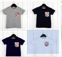 Summer new children's clothing wholesale the plaid pocket boy children T-shirt summer short sleeve T-shirt,
