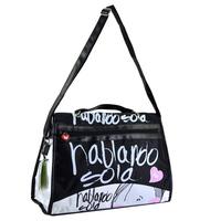 Black multifunctional girls casual handbag, cute cartoon and letter printing shoulder crossbody bag womens SO-260B