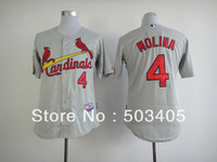 St Louis Cardinals #4 Yadier Molina  grey baseball cool jerseys, embroidered logos