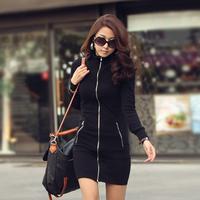plus size black dresses zipper-up long-sleeve slim hip one-piece dress women fashion clothing M/L/XL/XXL/XXXL