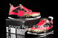 Free Shipping Red Retro 4 With Leopard J4 Mens Basketball Shoes