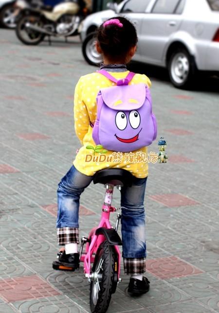 4 pçs/lote grátis frete varejo Dora The Explorer sr . rosto Plush Backpack Shool saco roxo da criança tamanho atacado # b1000(China (Mainland))