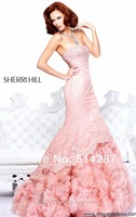 2014 New Desiger Strapless Floor Length Lace Hand Flower Beaded Mermaid Prom Dresses ruffled Bridal Dress