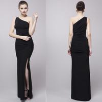 Hot Sale 2014 Sexy  Vintage Full Length Sheath One Shoulder High Slit Black Taffeta  Prom Bridesmaid Celebrity Dress