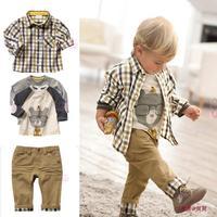 Free shipping, retail & wholesaletop quality children clothing set boy's plaid 3 pcs set overshirt+tees+pants autumn baby wear