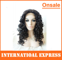 In Stock--high temperature heat resistant Synthetic lace front wigs long fluffy black color curly hair wigs for white women
