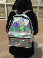 2014 silver laser reflective symphony HARAJUKU hologram laser backpack bag metal silver space backpack