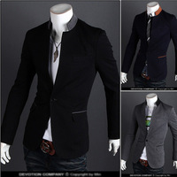Free Shipping Hit A New Spring Color Buckle Collar Casual Men's Suits Featured 3 Color 4 Size