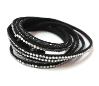 Super Charmig Full Crystal Leather Chains Bracelet Double Layer Thin Leather Women Bracelet AB283