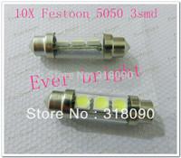 New! 10pcs/lot C5W 5050 3led 31mm/36mm/39mm/41mm 12V 3SMD 5050 LED 3chips Festoon Parking Lighting White Bulbs With Lens