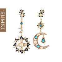 2014 new Fashion quality moon aesthetic personality sparkling crystal long design earrings  brand cc bijouterie innovative items