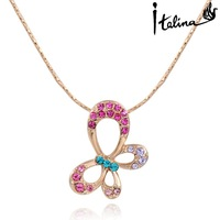 2014 New Sale Real Italina Necklace for women Genuine Austria Crystal 18K Gold Plated Fashion Pendants #RG73208