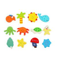 Kids Baby Wood Child Educational Toy Learning Cartoon Fridge Magnet 12 pcs a set Drop Free Shipping
