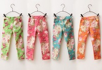 Cotton Leggings For Girl Fashion Children Print Colorful Denim Trousers Girls Printing Flower Pants 2014 Summer 2-7 Years