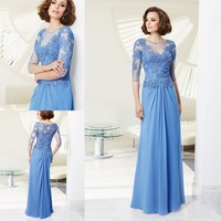 2014 Fabulous Design Lace Appliques Straight Custom made Sky Blue Half Sleeve Women Dress Evening Long Elegant