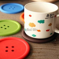 Creative household supplies Round Silicone Button Coasters Cute Button Coasters Cup Mat Household Supplies Candy Color 18416