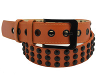 FREE SHIPPING punk  red orange color 2013 faux PU belt for men dropshipping z01