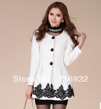 Free shipping Wholesale New arrival female hot sale fashion noble fragrant wind woolen coat thick lace flower tide coat