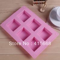 2014 household item baking tools 6 lattices silicone chocolate cake mold 5 * 5 * 2.5cm Soap molds wholesale