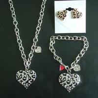 2014 New! Fashion Brand crystal Heart jewelry set, heart bracelet, heart earring, heart Pendant Necklace for women
