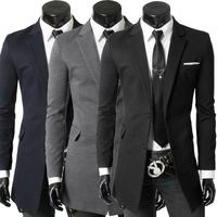 New Brand 2014 Fashion Blazer Men Casual Slim Medium-long Blazer suit jacket Coat 3colorS XXL Plus size Wholesale Drop shipping