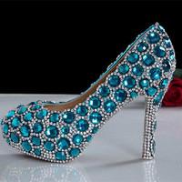 women pumps 2014 new arrival blue rhinestone heels big blue diamond wedding shoes crystal bridal heels pump