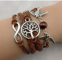 New Infinity love bracelet , Wish Tree & Couple bird Charm Bracelet--Antique Silver Bracelet   Imitation Leather Bracelet