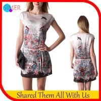 Hot Sale New Fashion Women's Poplin Print Bird A-line Casual Dress O-Neck Sleeveless Mini Dresses With Belt vestido de renda