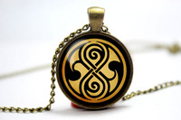 Doctor Who Seal of Rassilon inspired glass cabochon dome pendant necklace